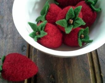 Needle Felting Kit - Sweet Summer Strawberries- Beginner's Felting Kit - Holiday Kit