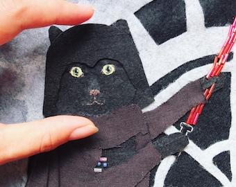Personalized cat portrait - framed pet portrait / geeky pet / felt embroidered needlecraft / fabric art