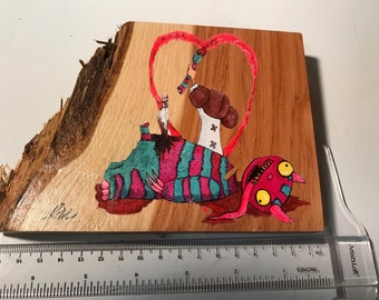 Love print on red cedar.