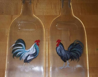 Hand painted Rooster on completely flattened wine bottle spoon rest
