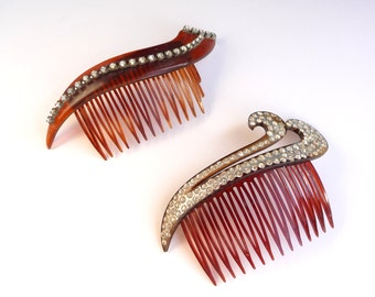 Vintage Hair Combs Rhinestones Set of Two Vintage Hair Accessory Made in USA