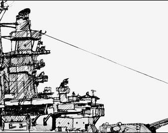 US Navy USS Massachusetts Battleship pen and ink art print 8.5x11 Home and Living Art Wall Hangings