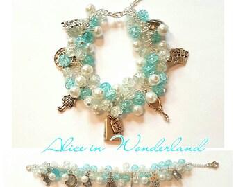 Alice in Wonderland Beaded Charm Bracelet