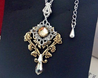 Swarovski Crystal Necklace Victorian Gothic Necklace Filigree Necklace
