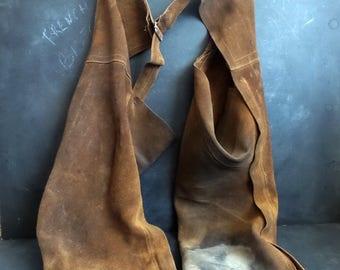 Vintage Brown Suede Western Chaps