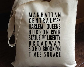 New York Tote Bag - Bus Roll - typography style tote - New York City neighbourhoods