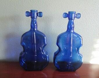 2 Colbalt Blue Violins or Cello's Vases
