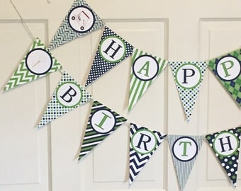 PREPPY GOLF Happy Birthday or Baby Shower Party Banner Lime Green Navy - Party Packs Available