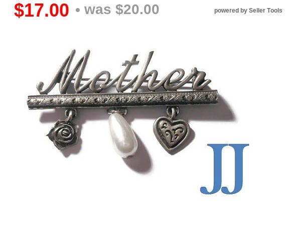 SALE Mother brooch pin, rare Spoontiques JJ Jonette Jewelry signed Mother pin with heart, flower and faux pearl in pewter, eco-friendly