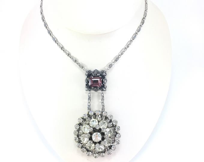 Vintage Rhinestone Scatter Brooch Necklace with Purple Glass Filigree