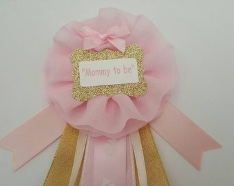 Pink and gold, It's a girl baby shower pin/corsage