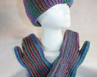 Crochet Prism Tweed Hat and Mitten set- Free Shipping