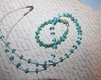 Sterling & Turquoise Beaded SET of Necklace and Bracelet