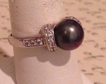 Vintage hematite and CZ sterling silver ring, 9 1/4