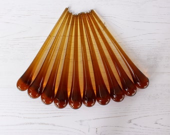 "Vintage Amber Chandelier Drops for Project or Spares...6"" x 7/8"" Set of TWELVE Drops."