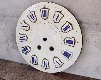 """RESERVED for M French Antique Large Enamel Clock Face...Diameter 9.3/4""""....White and Blue Enamel...Nordic Living...Shabby Chic."""