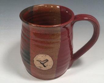 Mug -  handmade ceramic Coffee mug - 16 ounce - Ready to Ship - Red Jasper  - Hummingbird Stamp  - ceramics - pottery - stoneware
