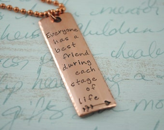 Best Friend Inspiration Bar Necklace Keepsake Copper or Brass