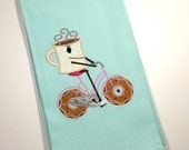 Donut and  Coffee Towel – 10 dollar gift- Funny Coffee Kitchen Towel - Embroidered Towel - Kitchen Towel - Funny Donut Towel - Kitchen Decor