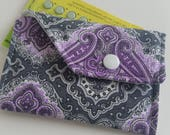 Birth Control Case with Snap Closure - Purple paisley