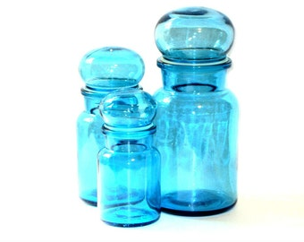Belgium Aqua Blue Glass Apothecary Jar Set Bubble Top Tight Seal Kitchen Storage Canisters Retro Bathroom Vanity Containers