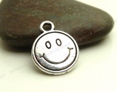 10 Smiley Face Charms ( Double Sided ) Antique Silver Tone Metal - 16x13mm - BP17
