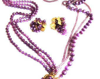 Shades of Purple Eugene Vintage Necklace and Earrings 1940s