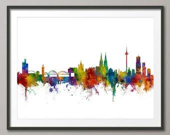 Cologne Skyline, Koln Germany Cityscape Art Print (2811)