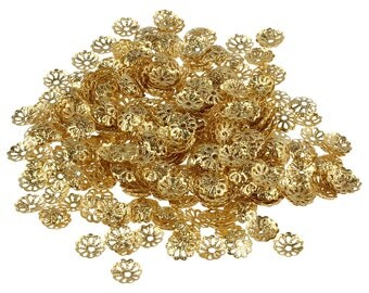 50 Flower Bead Caps, Gold Tone 6 mm - bc133