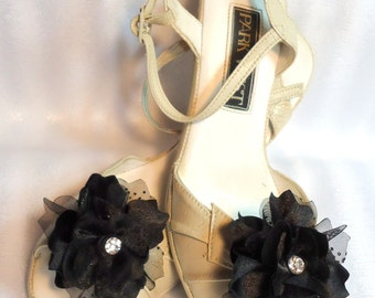 Shoe Embellishments, Charmeuse Shoe Clips, Flower Shoe Clips, REX17414SC