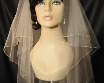Wedding Veil, 2 Tier Veil, Circular Veil, Pencil Edge, Waist Length Veil, REX3050