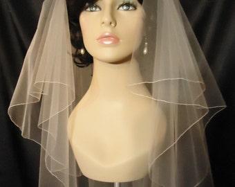 wedding veil 2 tier veil circular veil pencil edge waist length veil
