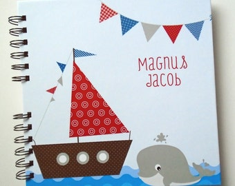 Baby Book |  Baby Memory Album | Baby Memory Book, Nautical Wire Bound
