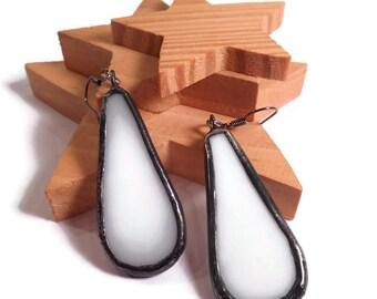 Drop Earrings Dangle Earrings White Glass Earrings Stained Glass Earrings Glass and Metal Jewelry Handmade Earrings White Jewelry Unique