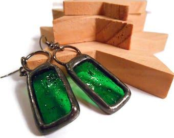 Green Glass Earrings Stained Glass Earrings Rectangle Earrings Glass Metal Earrings Handmade Jewelry Unique Seedy Green Earrings Danglers