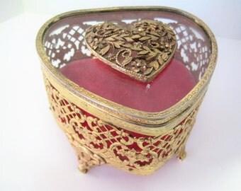 Gold Jewelry Box - Ormolu Heart Box - Vintage Vanity  Display - Mid Century Jewelry Storage