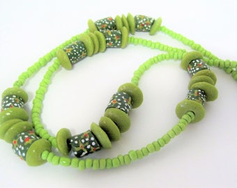 Green Floral Necklace - Hand Painted Pottery Beads - 26 Inch Necklace