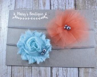 75% OFF Ready to Ship/ Newborn Set of Two Sky Blue Coral Mesh Gray Flower Headband/ Baby Headband/ Bow Headband