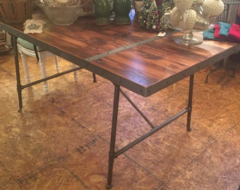 Rustic Inspired Wood Top Table