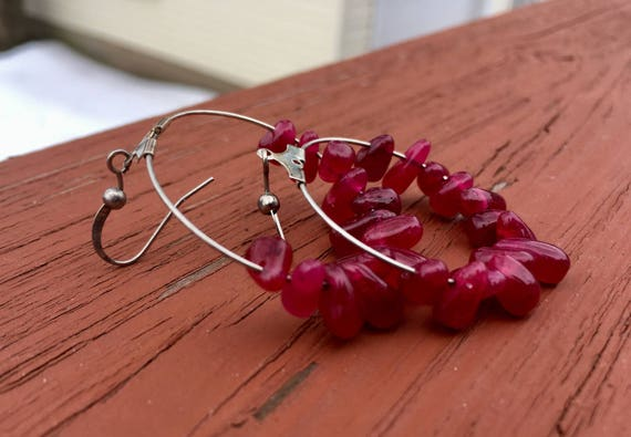 "Raspberry  ""Simply Chandelier"" tear drop Earrings"