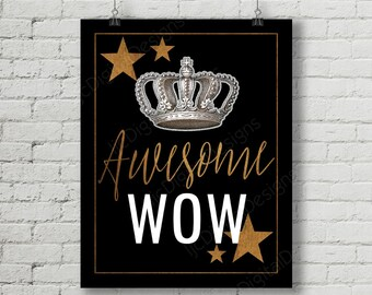 Hamilton Inspired Fan Art, Printable Hamilton Musical Quote Typography Word Art Poster, Awesome Wow, 11x14 and 8x10 INSTANT DOWNLOAD