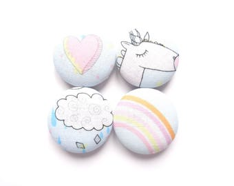 Unicorn Magnets, Rainbow Magnets, Cloud Magnets, Heart Magnets, Playful Magnets, Blue Sky Magnets, Pink Magnets, Cute Magnets, Gift For Girl