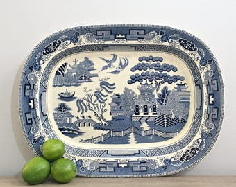 Large Vintage Blue Willow Platter Tray 18 x 14 Willow Ware Blue White Porcelain Preppy Chinoiserie Chic Decor