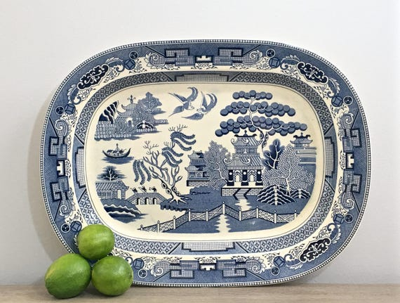 Large Vintage Blue Willow Platter Tray 18 X 14 Willow Ware