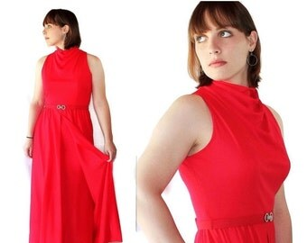 40%OFFSALE 70s Victor Costa Red Dress Vintage Wedding Evening Gown Romantica