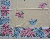 Simtex Tablecloth Vintage 1950s Yellow Floral Oblong