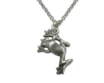 Silver Toned Frog Pendant Necklace