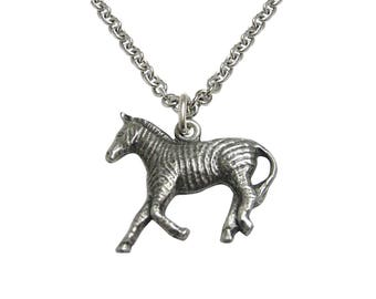 Silver Toned Zebra Pendant Necklace