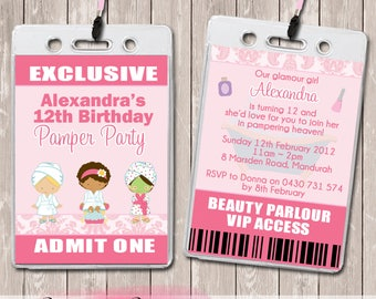 Pamper Spa Party Personalised VIP Lanyard Birthday Invitations x 10