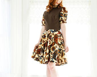 Vintage 1940s paisley dress, brown orange circle skirt boho swing print fall autumn 1950s square dance S M SALE